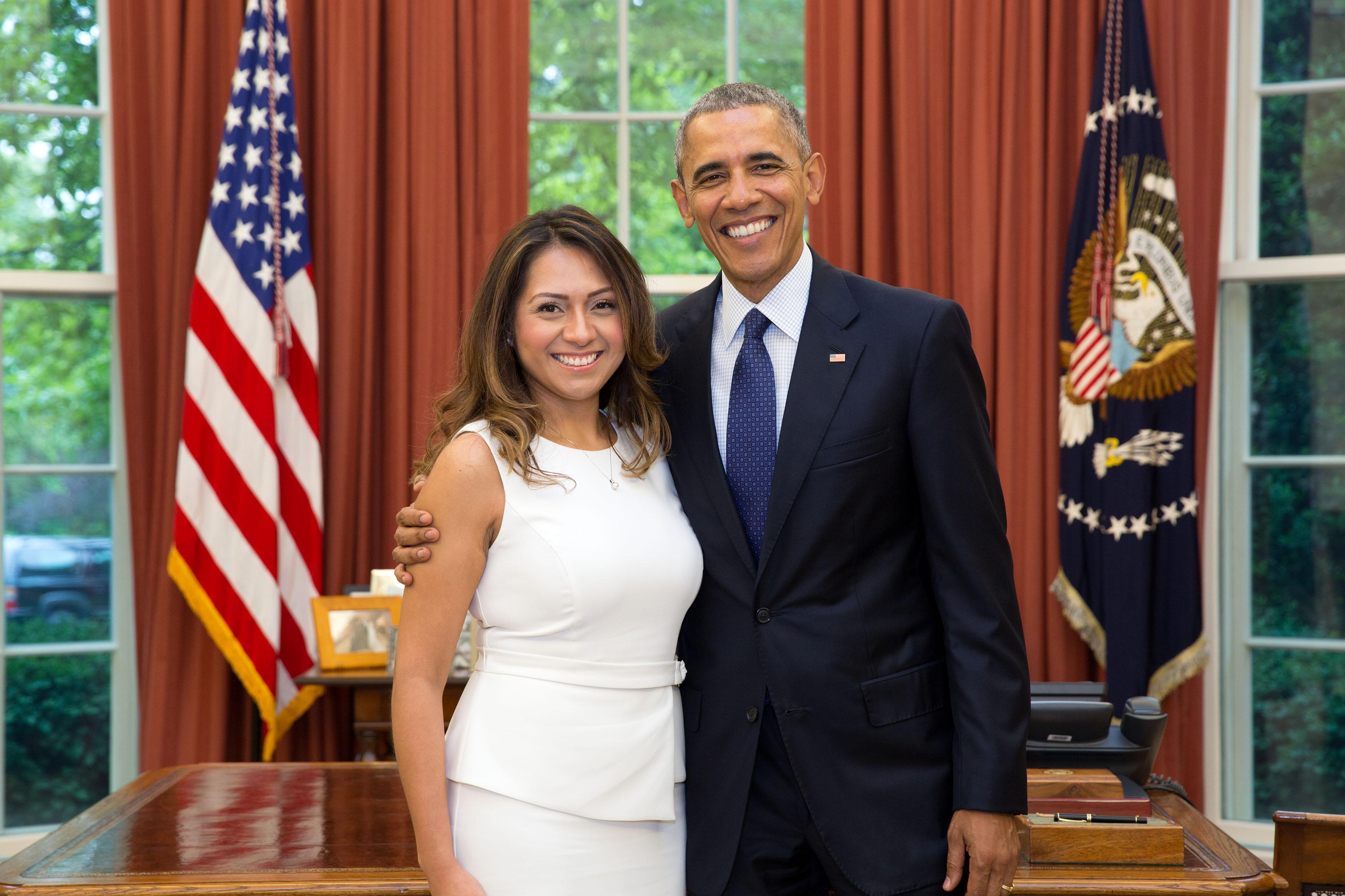 Andrea Ambriz with President Barack Obama