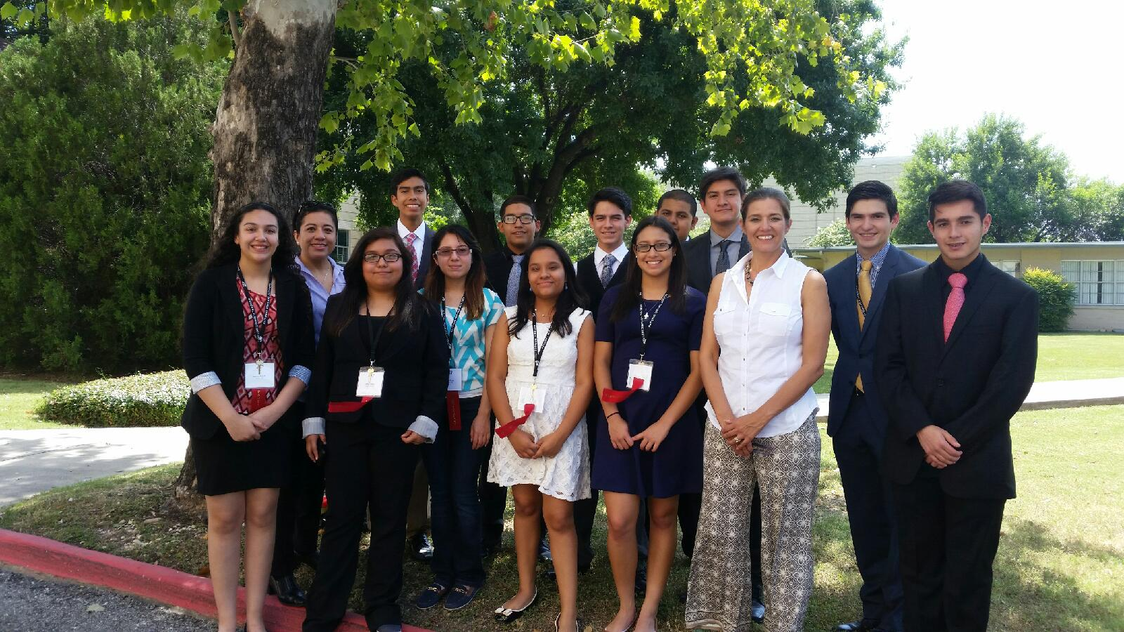 Xochitl Yanez from State Farm Foundation visits the 2016 NHI Texas Star Great Debate program.