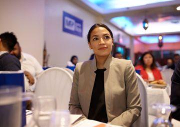 Alexandria Ocasio-Cortez at a campaign event