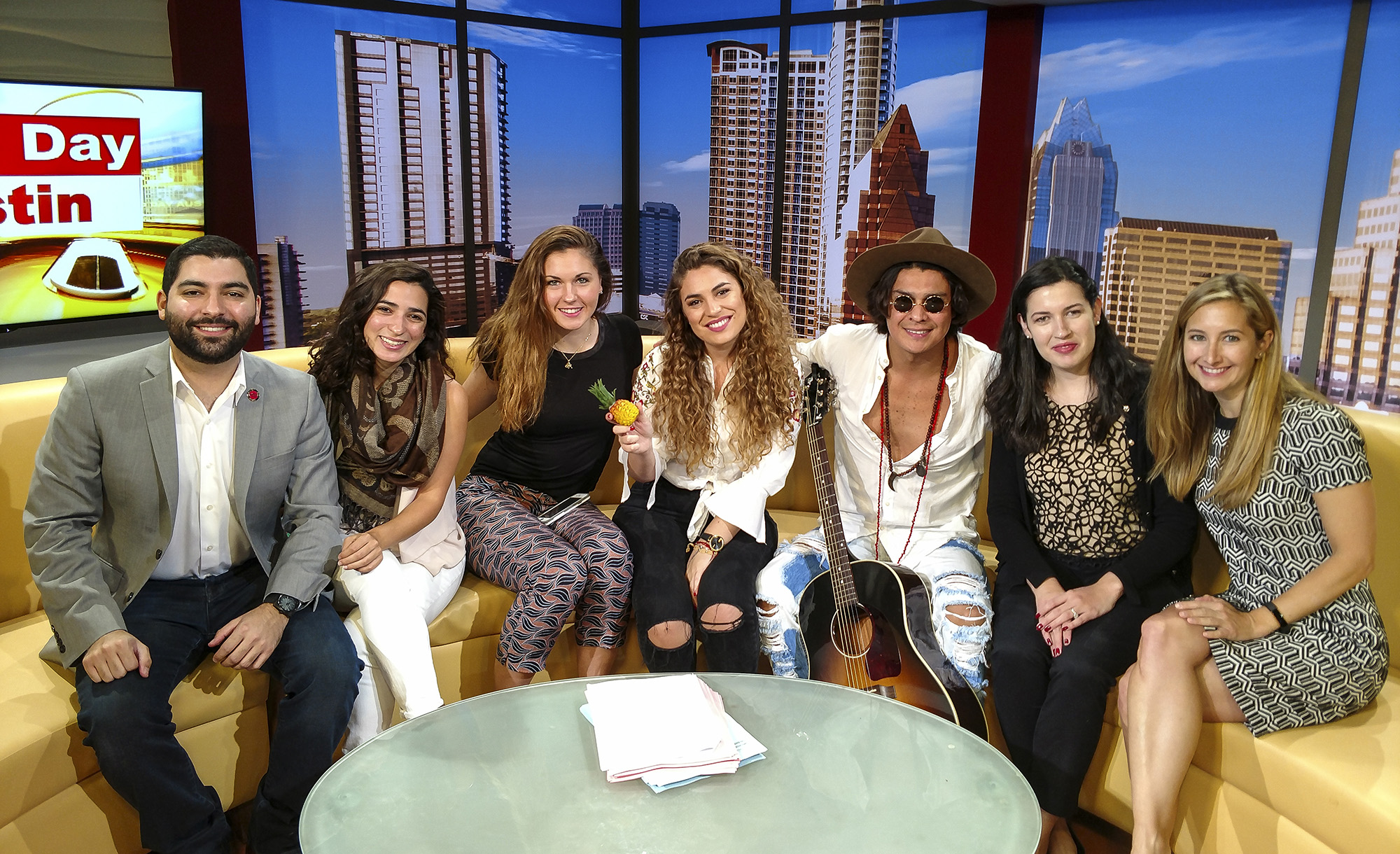 Periko y Jessi, the DishLATINO team, and NHI's Zachary Gonzalez at Fox 7's studios