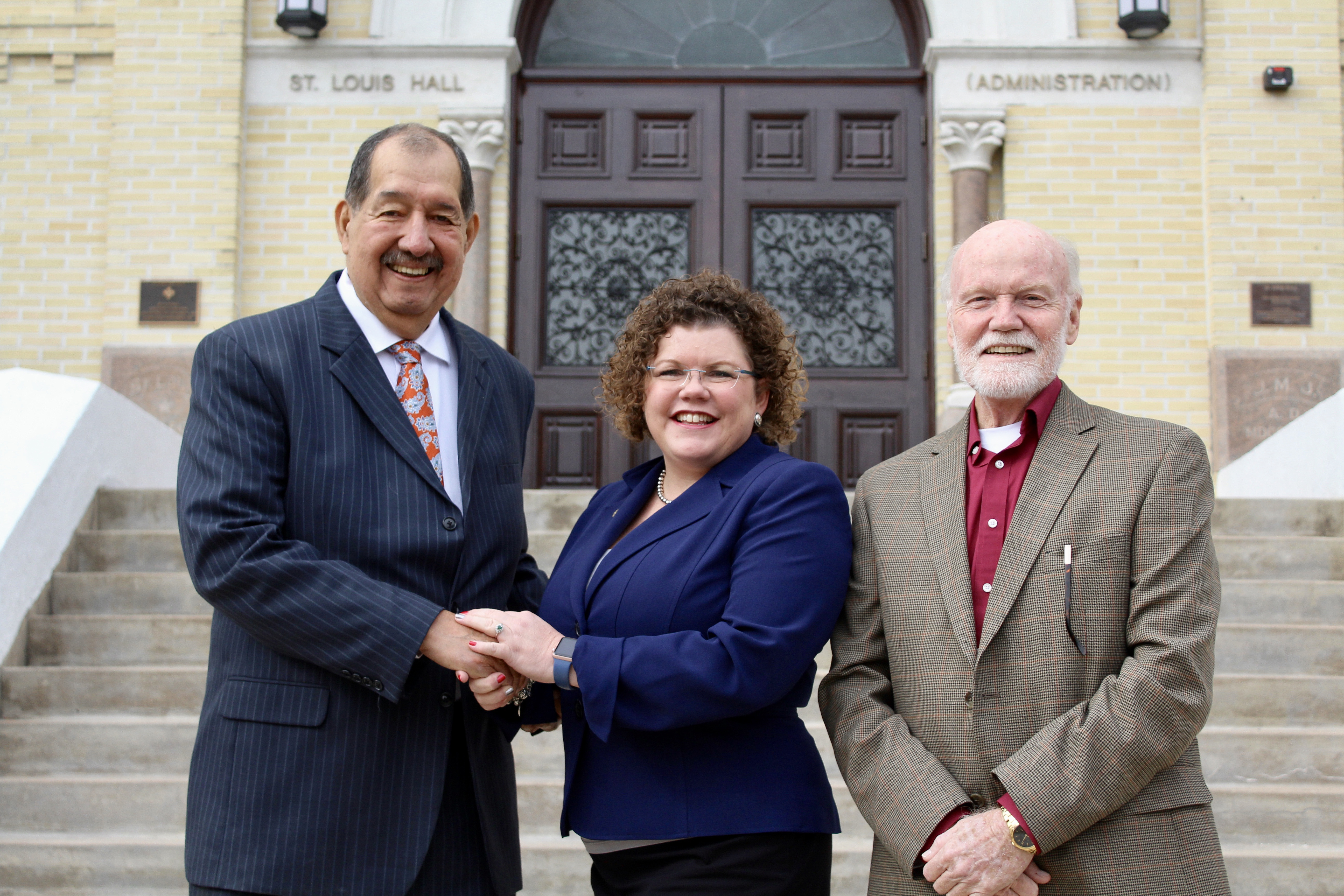 NHI founder and president Ernesto Nieto with St. Mary's University Vice Provost for Enrollment Management Dr. Rosalind Alderman and Director of Marianist Urban Students Program Bro. Richard Thompson.
