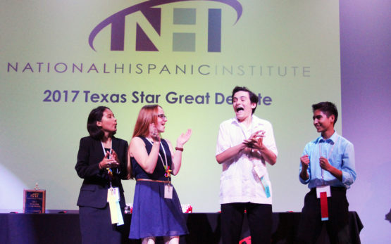 Students celebrating at the 2017 Texas Star Great Debate
