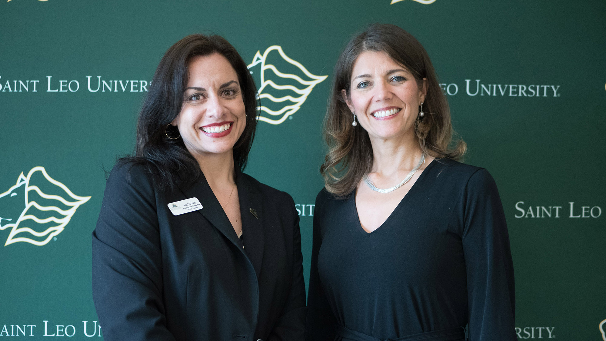 Saint Leo University's Ana Dinonato and NHI's Nicole Nieto at 2018 ICWS