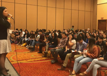Kristina Tusini speaks to the Great Debate cohort at Celebracion 2018 in Central Texas.