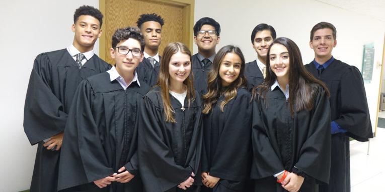 Supreme Court Justices at the 2019 Colorado LDZ: Caleb Glynn, Anthony Fletcher, John Juarez, Diego Lopez, Isaac Bañuelos, Renato Martinez, Gabriela Hodge, Sybonae Acosta. Nyla Hajj